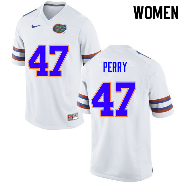 Women #47 Austin Perry Florida Gators College Football Jerseys Sale-White